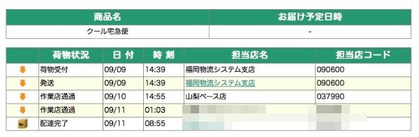 博多久松 お試しおせち ヤマト運輸発送追跡画像