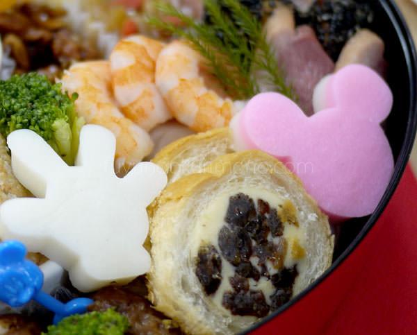 ベルメゾンおせち ミッキーマウス・シルエット三段重 二の重 拡大画像2 ミッキー型の食材