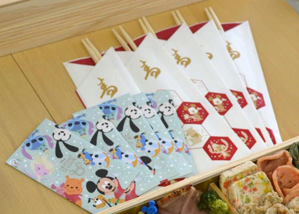 ミッキー・特段重に付属する祝い箸とぽち袋