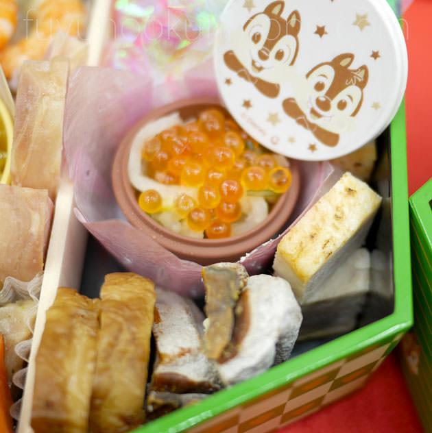 「鶏三色巻」「干柿ホワイトチョコ」「豚の塩麹焼」「鱒醤油いくら」