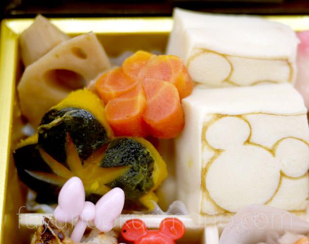 「れんこん煮」「金時人参ねじり梅」「松南瓜」「ミッキー焼き印高野豆腐」