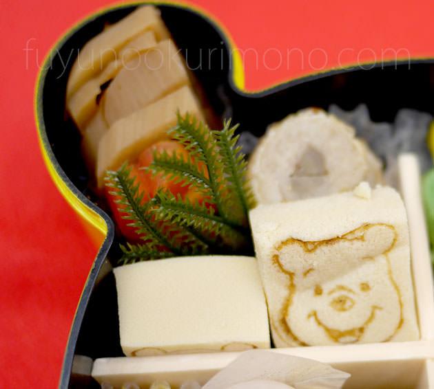 「プーさん焼き印高野豆腐」「小鯛八幡巻」「れんこん煮」