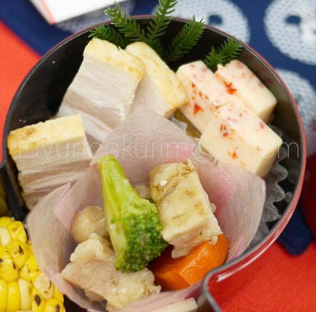 「豚の塩麹焼」「鶏肉と野菜の香味ソース」「地中海風野菜のテリーヌ」