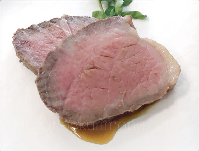 プレミアムおせちの試食メニュー「黒毛和牛ローストビーフ」